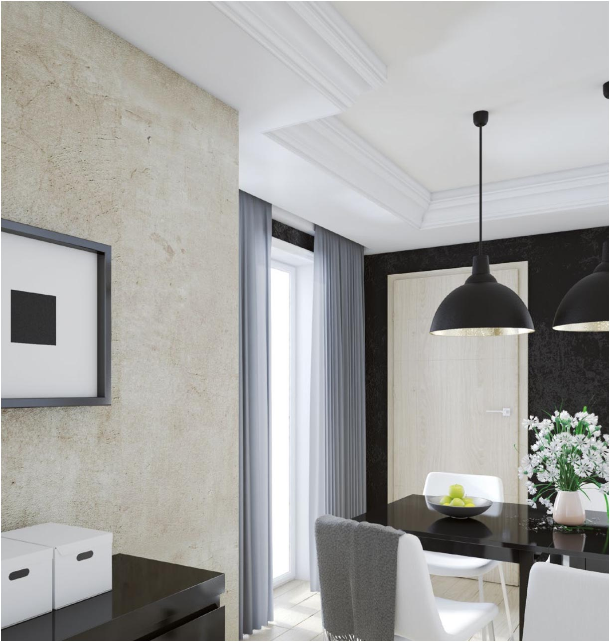 Extruded mouldings Ceiling mouldings XPS, it is a combination of simplicity of the form and the wide varieties of uses. Ideal for both classic and modern interiors.